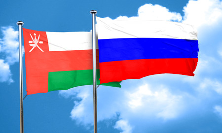 russia flag: Oman flag with Russia flag, 3D rendering