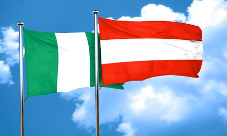 austria flag: Nigeria flag with Austria flag, 3D rendering