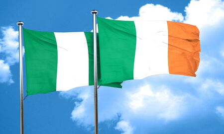 ireland flag: Nigeria flag with Ireland flag, 3D rendering