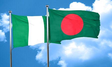 nigeria: Nigeria flag with Bangladesh flag, 3D rendering Stock Photo