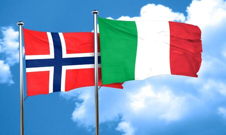 norway flag: norway flag with Italy flag, 3D rendering
