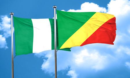 Congo: Nigeria flag with congo flag, 3D rendering
