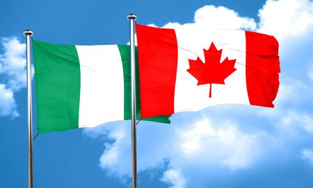 canadian state flag: Nigeria flag with Canada flag, 3D rendering