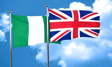 british culture: Nigeria flag with Great Britain flag, 3D rendering
