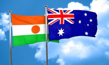 australia flag: niger flag with Australia flag, 3D rendering