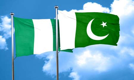 pakistan flag: Nigeria flag with Pakistan flag, 3D rendering Stock Photo