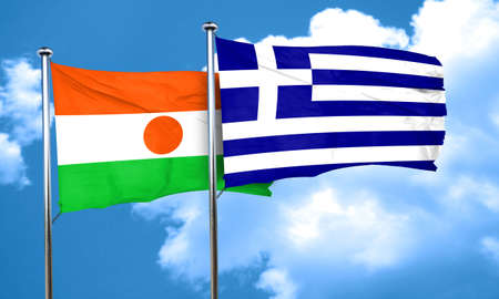 greece flag: niger flag with Greece flag, 3D rendering