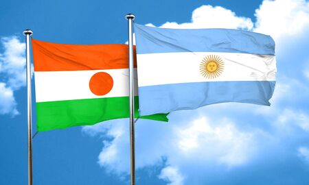 argentine: niger flag with Argentine flag, 3D rendering Stock Photo