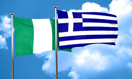 greece flag: Nigeria flag with Greece flag, 3D rendering Stock Photo