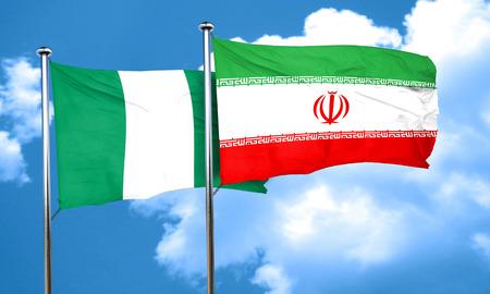 nigeria: Nigeria flag with Iran flag, 3D rendering