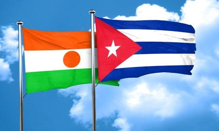 cuba flag: niger flag with cuba flag, 3D rendering