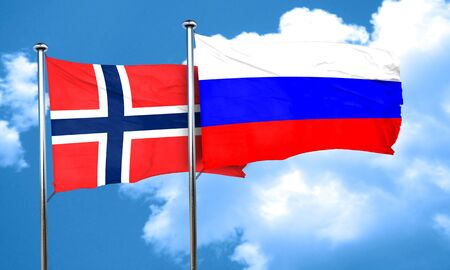russia flag: norway flag with Russia flag, 3D rendering