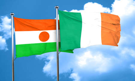niger: niger flag with Ireland flag, 3D rendering Stock Photo