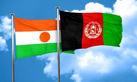 afghanistan flag: niger flag with afghanistan flag, 3D rendering Stock Photo