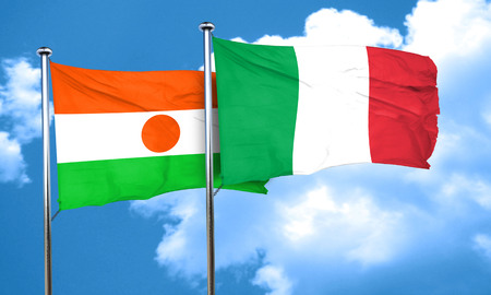 niger: niger flag with Italy flag, 3D rendering Stock Photo