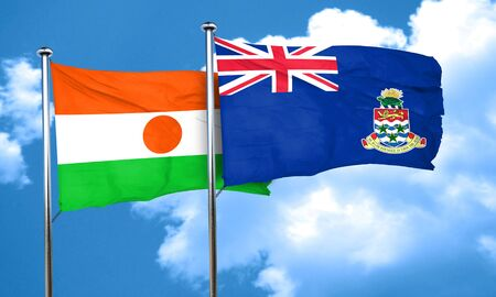 cayman: niger flag with Cayman islands flag, 3D rendering