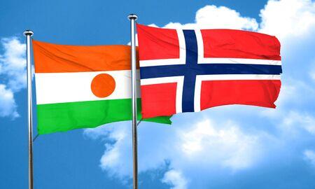 norway flag: niger flag with Norway flag, 3D rendering