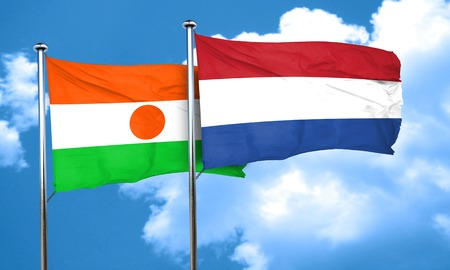 netherlands flag: niger flag with Netherlands flag, 3D rendering Stock Photo