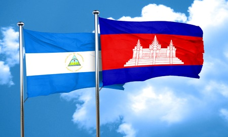 cambodia: nicaragua flag with Cambodia flag, 3D rendering Stock Photo