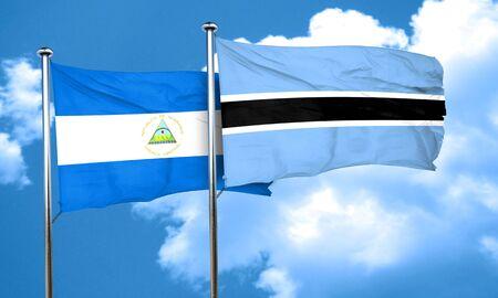 nicaragua: nicaragua flag with Botswana flag, 3D rendering