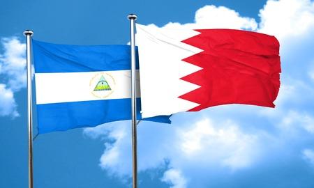 nicaragua: nicaragua flag with Bahrain flag, 3D rendering