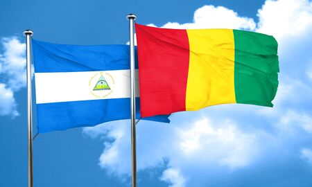 nicaragua: nicaragua flag with Guinea flag, 3D rendering