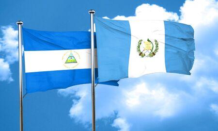 bandera de guatemala: bandera de Nicaragua con la bandera de Guatemala, 3D