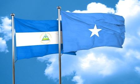 nicaragua: nicaragua flag with Somalia flag, 3D rendering