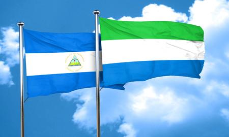 sierra: nicaragua flag with Sierra Leone flag, 3D rendering Stock Photo