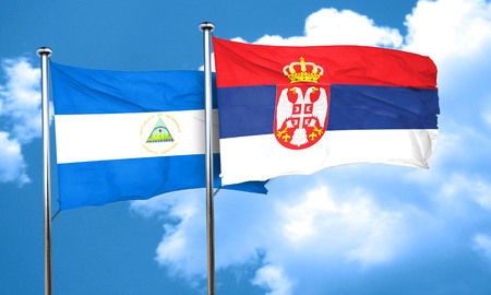 serbia flag: nicaragua flag with Serbia flag, 3D rendering