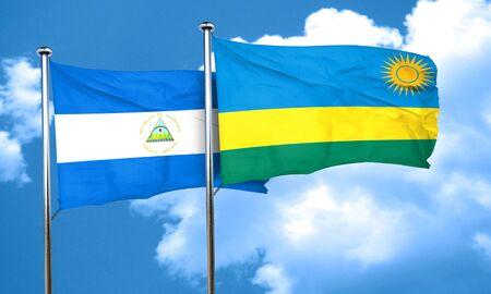 nicaragua: nicaragua flag with rwanda flag, 3D rendering