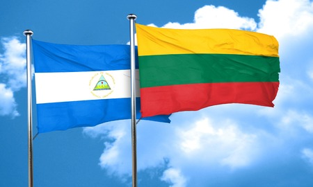 lithuania: nicaragua flag with Lithuania flag, 3D rendering