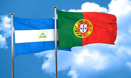 portugal flag: nicaragua flag with Portugal flag, 3D rendering