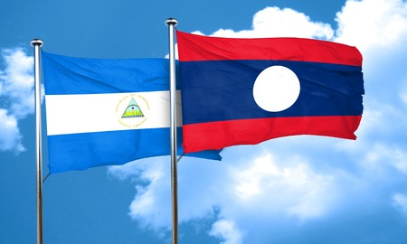 nicaragua: nicaragua flag with Laos flag, 3D rendering