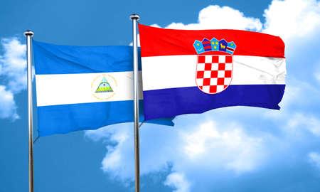 bandera croacia: bandera de Nicaragua con la bandera de Croacia, 3D