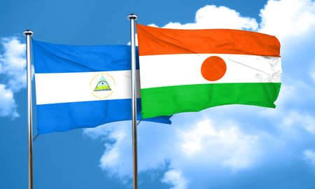nicaragua: nicaragua flag with Niger flag, 3D rendering