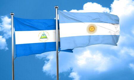 argentine: nicaragua flag with Argentine flag, 3D rendering