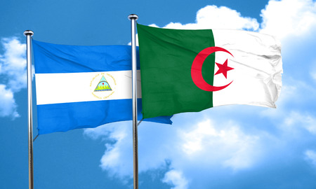 algeria: nicaragua flag with Algeria flag, 3D rendering