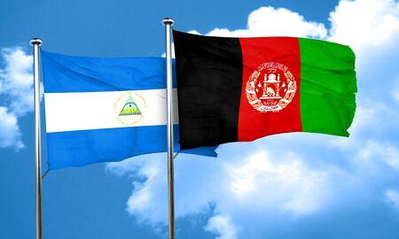 afghanistan flag: nicaragua flag with afghanistan flag, 3D rendering