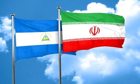 nicaragua: nicaragua flag with Iran flag, 3D rendering Stock Photo