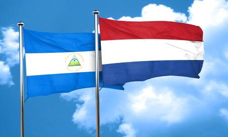 netherlands flag: nicaragua flag with Netherlands flag, 3D rendering
