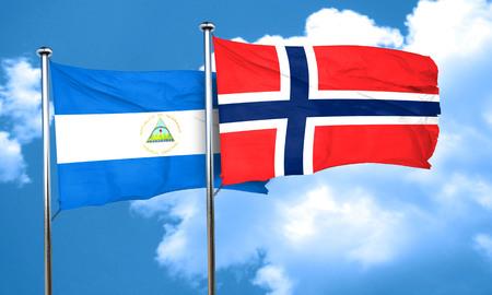 norway flag: nicaragua flag with Norway flag, 3D rendering
