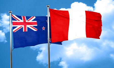 bandera de peru: Bandera de Nueva Zelanda con la bandera de Perú, 3D