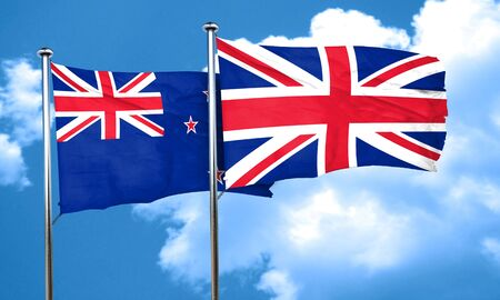 british culture: New zealand flag with Great Britain flag, 3D rendering Stock Photo