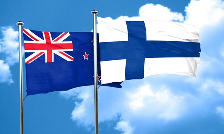 FINLAND flag: New zealand flag with Finland flag, 3D rendering Stock Photo