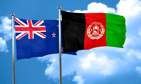 afghanistan flag: New zealand flag with afghanistan flag, 3D rendering