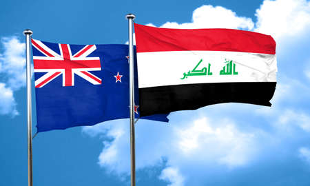 iraq flag: New zealand flag with Iraq flag, 3D rendering Stock Photo