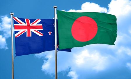 bandera de nueva zelanda: Bandera de Nueva Zelanda con la bandera de Bangladesh, 3D