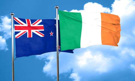 bandera de irlanda: Bandera de Nueva Zelanda con la bandera de Irlanda, 3D