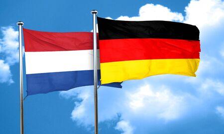 netherlands flag: Netherlands flag with Germany flag, 3D rendering